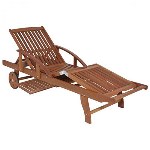 Unbekannt Garden Pleasure Sonnenliege Eukalyptus Holz Sunlounger Garten Liege Holzliege Relaxliege