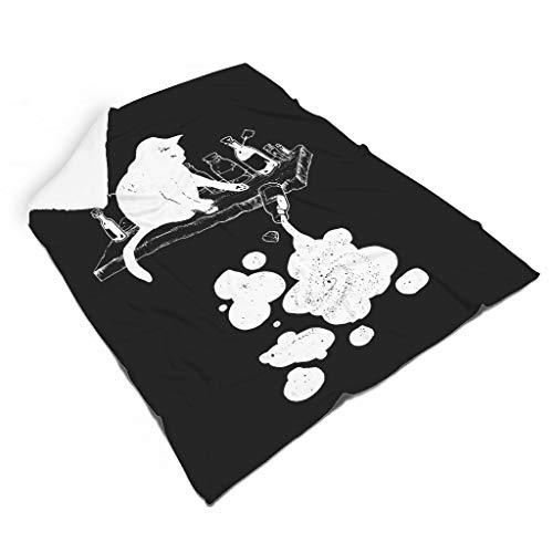 Magiböes Divertida manta de franela con diseño de gatos, color negro, 150 x 200 cm