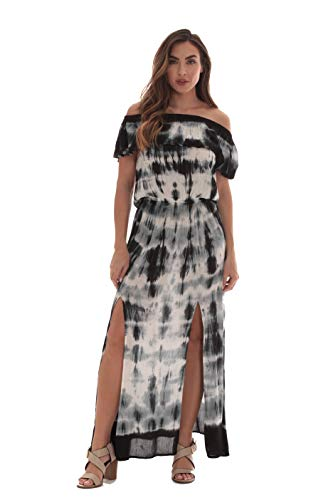 Riviera Sun Rayon Crepe Tie Dye Maxi Dress 21894-BLK-S Black