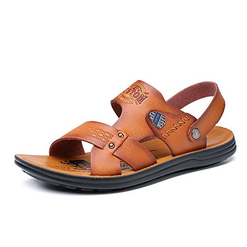 Yaunli - Sandalias para hombre, antideslizantes, puntera abierta, para senderismo, al aire libre, para baño, ducha, piscina, playa, zapatos, pu, Amarillo, 44
