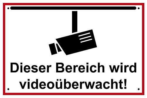 Videoüberwachung Alu-Schild inkl. 4 Lochbohrungen (4 mm) | 30 x 20 cm |