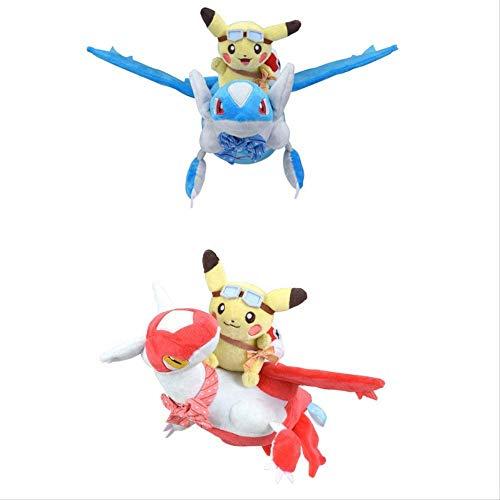 LHAHGLY 2 stücke Pokemon Pikachu reiten latios latias plüsch Spielzeug 28 cm, gefüllte Puppen Fliegende latios Dekoration Puppe Spielzeug Kinder Kinder Geschenk Pokemon Kuscheltier