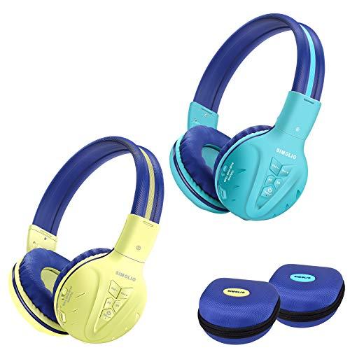 2 Pack of SIMOLIO Wireless Kids Headphone with Hard Case, Bluetooth Kids Friendly Headphone Volume Limited, Wireless Headphones for Girls,Boys,Over-Ear Kids Headphones for School,Travel(Mint,Yellow)