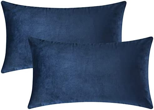 Best Mixhug Set of 2 Cozy Velvet Rectangle Decorative Throw Pillow Covers for Couch and Bed, Navy Blue, 1