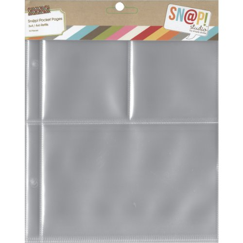 "Simple Sn@p! Pocket Pages For 6""X8"" Binders 10/Pkg, (1) 4""X6"" & (2) 3""X4"" Pockets"