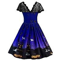 SiTai Miis 女性は半袖ハロウィーンレトロレースのヴィンテージドレスパンプキンスイングドレスドレス(青い,L3)