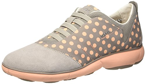 Geox D Nebula C, Scarpe Low-Top Donna, Grigio (Lt Grey/Peach), 37 EU