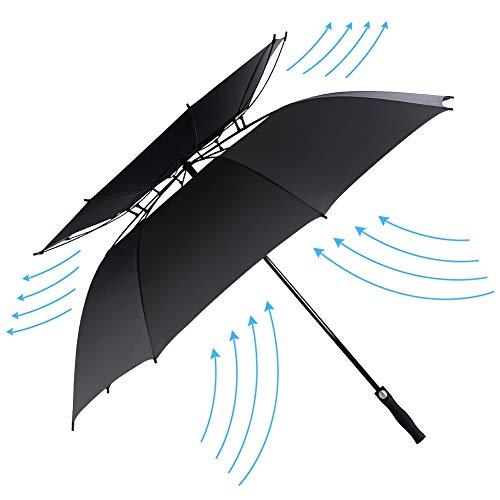 Paraguas BigBig Style de 62 pulgadas, con mango ergonómico ligero y automático, doble toldo con ventilación resistente al viento y resistente al agua para exteriores