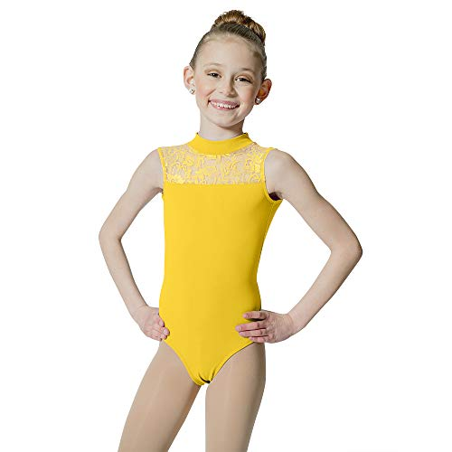 HDW DANCE Kids Girls Ballet Dance Leotard Lace Turtle Neck Open Back Cotton … (XX-Small, Yellow)