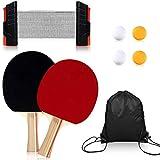 Myhozee - Set de tenis de mesa portátil, para jugar en interiores o exteriores, 2 raquetas de ping pong + red de tenis de mesa extensible + 4 pelotas + bolsa de algodón, negro + rojo
