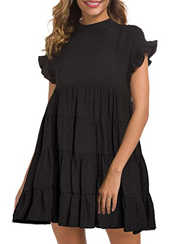 MIHOLL Women's Summer Ruffle Dresses Flowy Casual Swing Mini Dress Plus Size (XX-Large, Black)