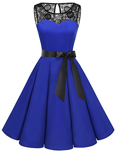 bbonlinedress bbonlinedress 1950er Ärmellos Vintage Retro Spitzenkleid Rundhals Abendkleid Royal Blue XL