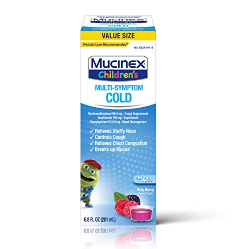 Mucinex Cough Suppresent Chest Congestion and Stuffy Nose Relief Children's Multi-Symptom Cold Liquid, Very Berry, 6.8 Fl Oz (Pack of 1)