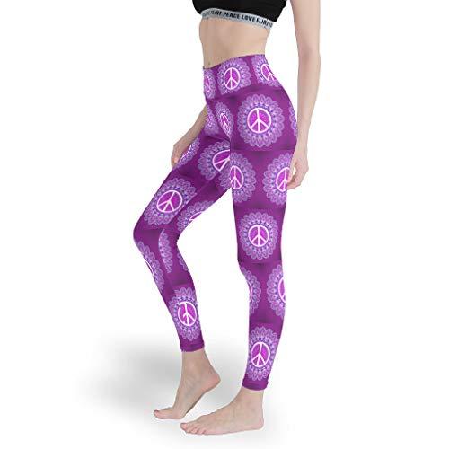 Peace & Love Damen nahtlose hohe Yoga-Leggings für Fitness, Bauchkontrolle, Strumpfhose für Frauen Gr. XXXL, weiß