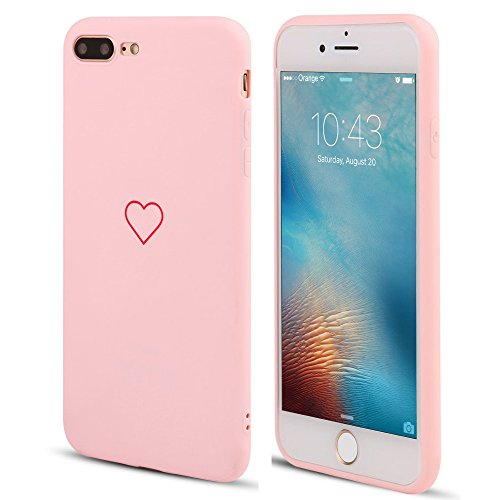Hülle für iPhone 7/iPhone 8,für iPhone SE 2020 Cute Love Heart Hülle Matt Soft Silicone Slim TPU Handytasche Flexible Schutzhülle HandyHülle Back Cover für iPhone 7/iPhone 8,für iPhone SE 2020, Pink