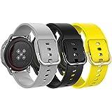 MoKo 20mm Cinturino per Galaxy Watch 3 41mm/Galaxy Watch 42mm/Galaxy Watch Active/Active 2/Gear S2 Classic/Gear Sport, 3 Pezzi Morbido Braccialetto di Ricambio in Silicone - Grigio e nero e giallo