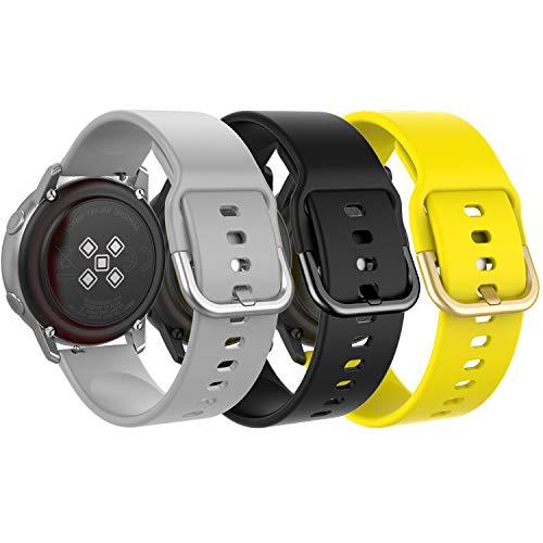 MoKo[3PZS]Reloj Correa Compatible con Galaxy Watch 3 41mm/Galaxy Watch Active/Active 2/Galaxy Watch 42mm/Huawei Watch GT 2 42mm/Garmin Vivoactive 3/Ticwatch E, 20mm Pulsera-Gris,Negro,Amarillo