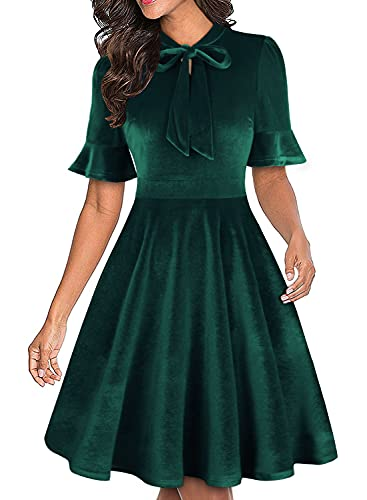 RANPHEE Womens Green Velvet Bow Tie Neck Fit and Flare Work Dresses