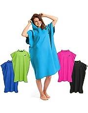 Omkleed handdoek op het strand, ultralicht en sneldrogend, surfponcho voor dames en heren, extra lange omkleed handdoek uit microvezel, zwemponcho en poncho handdoek tegelijkertijd