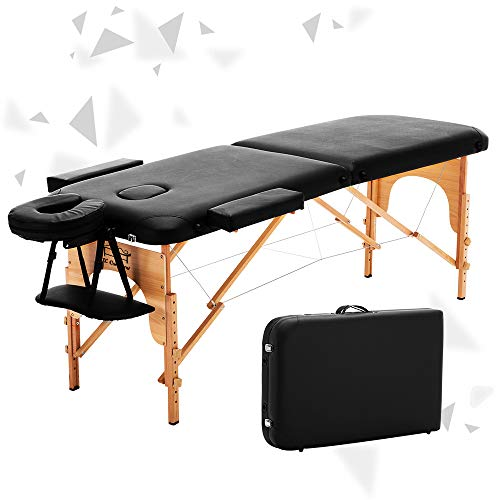 JL Comfurni  Massage Table Portable 2 Section Folding Couch Bed Lightweight Beauty Salon Tattoo Therapy Wooden Frame [New Arrival] -Black