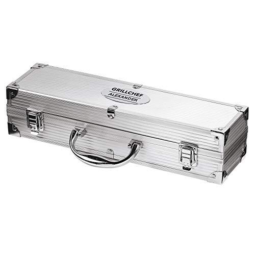 elasto Grillbesteck 3-Teilig Grillkoffer mit Name BBQ Koffer Grillchef Personalisiert mit Wunsch-Gravur (Motiv 4)