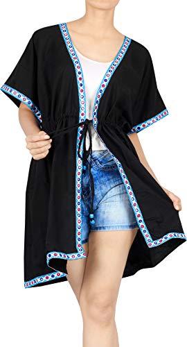 LA LEELA Copricostume Mare Cardigan Donna Taglie Forti- Vintage Rayon Estivo Scialle Elegante Solido Kimono Vestito Corto Estate Boho Tunica Etnica Abito da Spiaggia Nero_D754