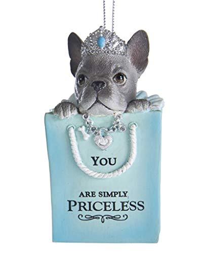 Kurt Adler Bulldog Puppy in Tiffany Style Box Ornament, 5 Inch, with Sentiment - You are Simply Priceless