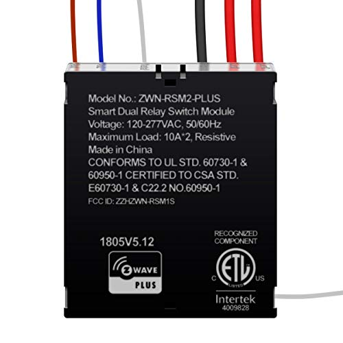 ENERWAVE Z-Wave Plus Dual Relay Module, Hidden Smart Switch, Single Pole, 120-277VAC, 10A Per Relay, NEUTRAL WIRE REQUIRED, ZWN-RSM2-PLUS, Black (New Version)