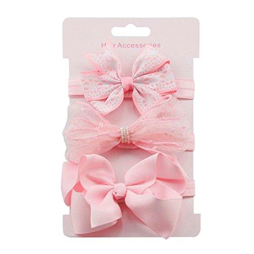 erthome Stirnband, Baby Mädchen Bowknot Haarband Set 3Pcs Kinder elastisches Blumen Stirnband Haarband (Rosa)