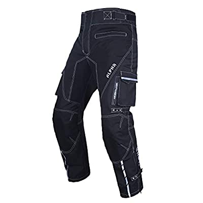"Dirt Bike Motocross Motorcycle pants for men hi Vis armor riding racing dual sports overpants atv mx bmx (BLACK, WAIST 34""-36"" INSEAM 32"")"