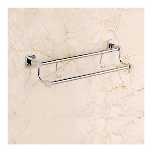 ZhanMaGS Estante de baño toallero multifunción toallero de cobre cromado de almacenamiento montado en la pared toallero toallero, barra doble toalla para baño 0719