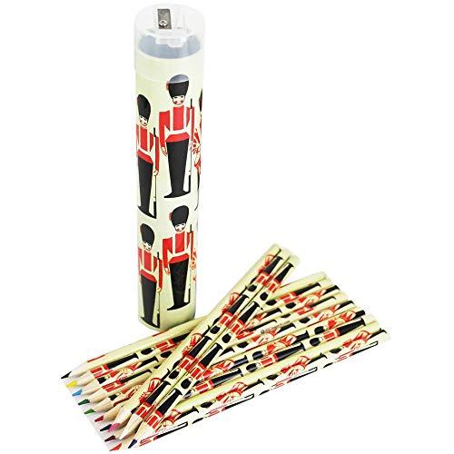 Robert Frederick 12 potloden in cilindrische tin/slijper in CDU-TROOPING de kleur, gesorteerd, 40 x 30 x 6 cm