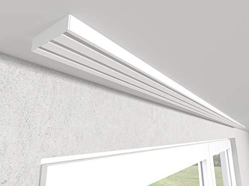 Market-Alley Vorhangschiene Aluminium Weiß Gardinenschiene ; 2-/ 3-/ 4-läufig ; 120cm-600cm. Für Kräuselband Gardinen oder Schiebevorhang (3-läufig ; 180cm ; nur Gardinenschiene)