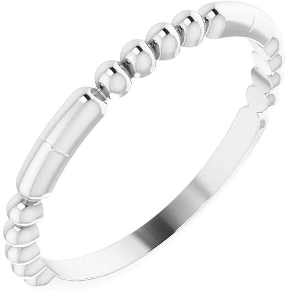 Beaded Stackable Wedding Anniversary Ring Band (Width = 1.9mm)