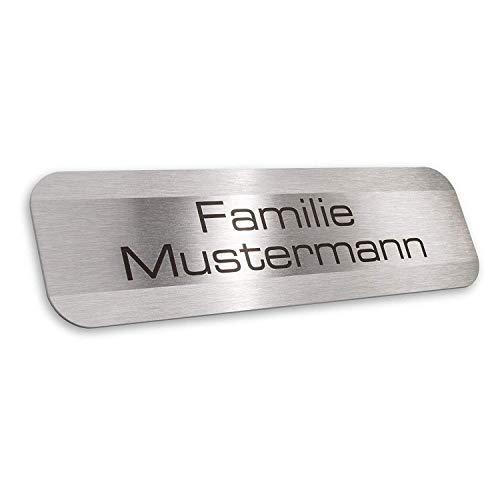 Metzler Namensschild Edelstahl Briefkasten - inklusive Gravur - selbstklebend oder Bohrungen - witterungsbeständig und langlebig - Produktmaße: 70x20mm