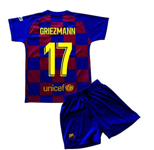 Champion's City Kit T-shirt et pantalon pour enfant Première équipe – FC Barcelone – Réplique autorisée – Joueurs 14 ans 17 - Griezmann