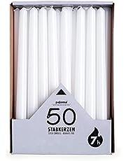 Pajoma stick ljus, vit, 50 stycken, höjd 25 cm, brinntid cirka 7 timmar