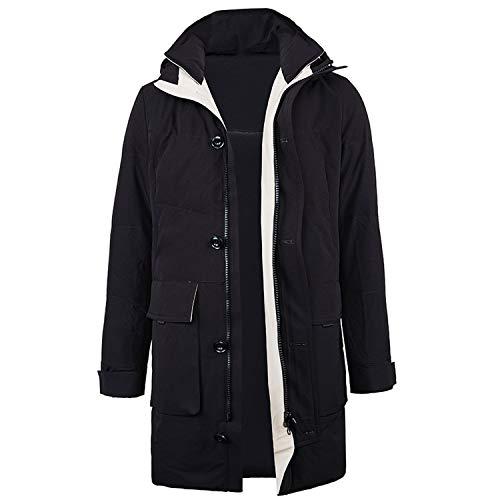 Winter Jacket Men New Duck Down Coat Men's Thicken Jackets Duck Down Hooded Overcoat,Black,XXL
