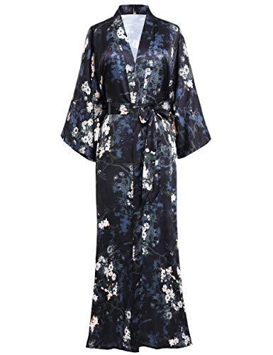 BABEYOND Damen Morgenmantel Maxi Lang Satin Sommer Kimono Blumen Muster Gedruckt Bademantel Kimono Strickjacke Damen Lange Robe Blumen Schlafmantel Girl Pajama Party (Stil4 - Schwarz)