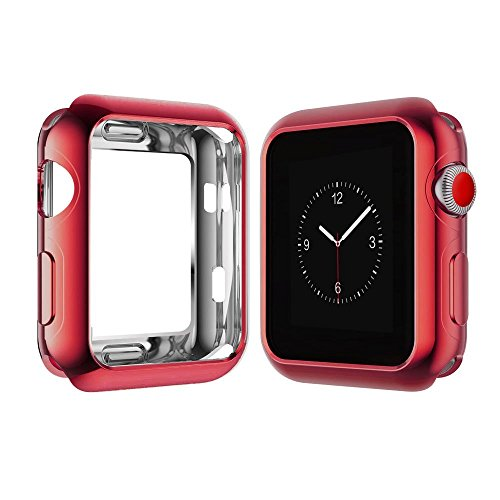 Compatible with Apple Watch Case 44mm 42mm 40mm 38mm, Vitech Slim Soft Flexible TPU Lightweight Protective Protector Bumper Case for iWatch Series 4 Series 3 Series 2 Series 1 (Red, 42mm)
