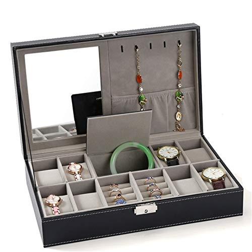 Caja de joyería para maquillaje con espejo y caja de colección de joyas, anillo, collar, pendientes, caja multiusos para almacenamiento y visualización (color negro, tamaño: 33,5 x 20,5 x 9 cm)