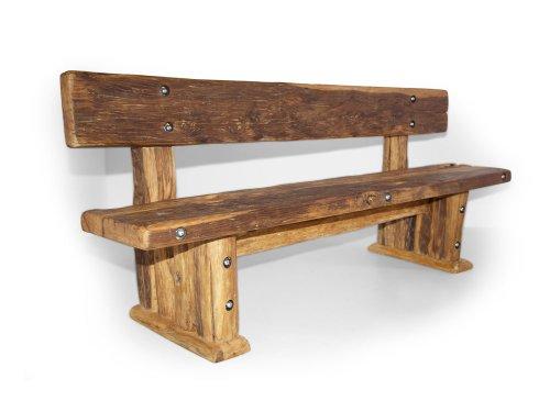 moebel-eins Wikinger Sitzbank/Massivholzsitzbank mit Lehne, Material Massivholz, 160 cm, unbehandelt