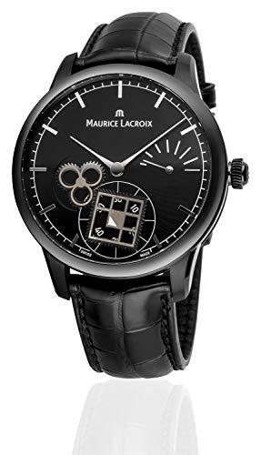 Maurice Lacroix Masterpiece Square Wheel Limited Edition Herren-Armbanduhr Analog Handaufzug mit schwarzem Krokolederband Black/Black MP7158-PVB01-302-1