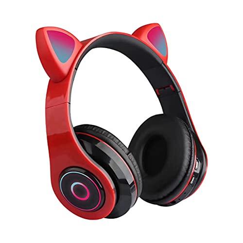XJST Bluetooth sobre Los Auriculares De Las Orejas, Los Auriculares Bluetooth del Oído Inalámbrico, Auriculares Estéreo Inalámbricos Plegables para El Uso Prolongado, con Luz,Rojo
