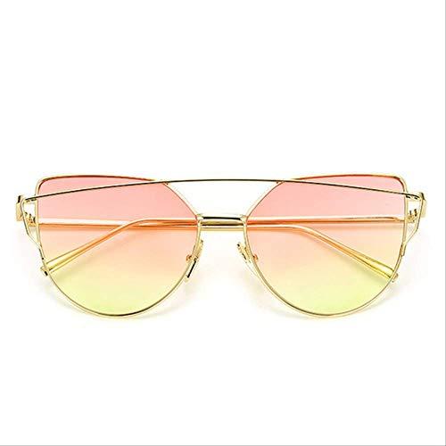 8bayfa Zonnebril Designer Zonnebril Kat Oog Reflecterende Bril Vintage Metalen Bril Voor Vrouwen Retro Zonnebril GoldPinkYellow
