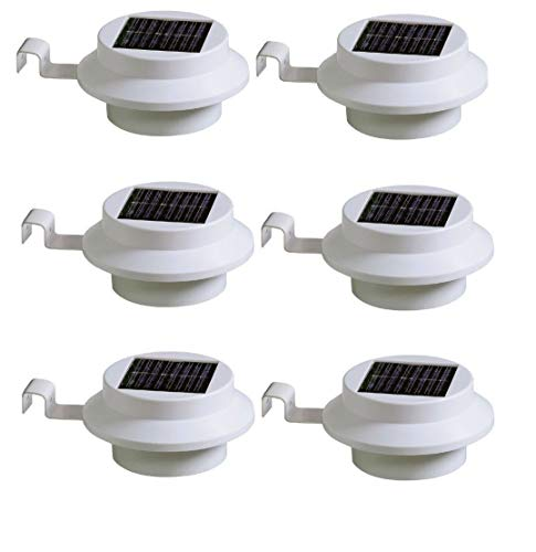 Pack of 6 White Superbright 3 LED Solar Powered Lights for Gutters or Garden Fences