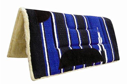 Pets2Care Tapis de selle de style cowboy, en polaire, 32 x 32cm, noir/bleu