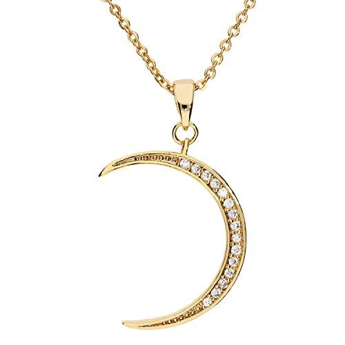 MYA art Damen Halskette Kette Collier Halbmond Mond Mondsichel Anhänger mit vielen Zirkonia Steinen Gold Vergoldet Gelbgold Weiß MYAGOKET-15