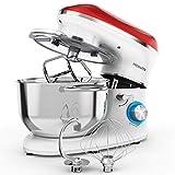 Freihafen Robot de cocina, amasadora, 1400 W, con bol de acero inoxidable de 5,5 L, varillas, batidora, protección contra salpicaduras, 6 velocidades, ruido reducido