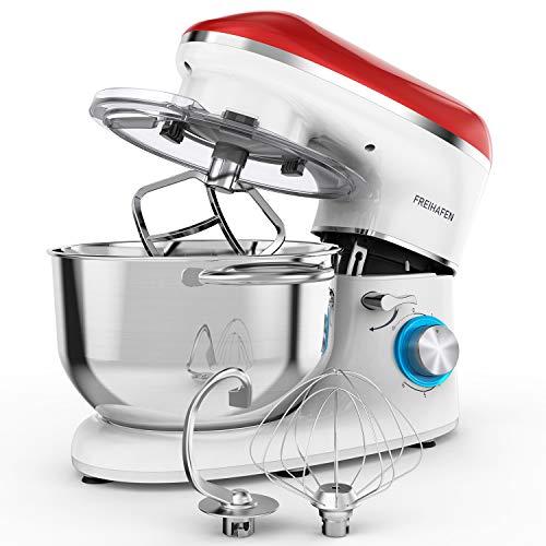 Freihafen Küchenmaschine Teigmaschine 1400W mit 5.5L Edelstahlschüssel Rührbesen, Knethaken, Schlagbesen, Spritzschutz, 6 Geschwindigkeit Reduzierte Geräusche Knetmaschine